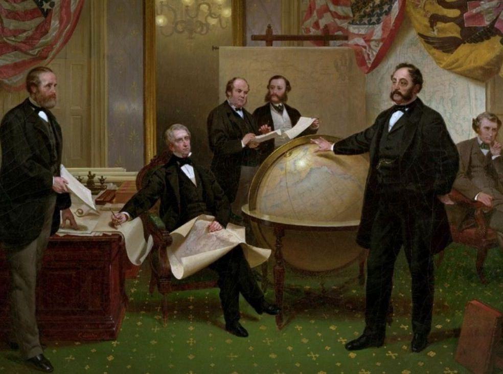 Подписание договора о продаже Аляски 30 марта 1867 года. Слева направо Роберт С. Чу, Уильям Г. Сьюард, Уильям Хантер, Владимир Бодиско, Эдуард Стекль, Чарльз Самнер, Фредерик Сьюард